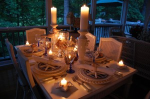 night time dining outside