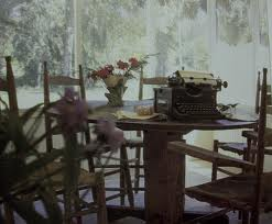 porch with  typewriter