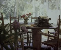 porch with  typewriter