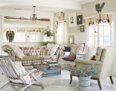 Shabby Chic Living Room With Cats Decor - Home Ideas Designs
